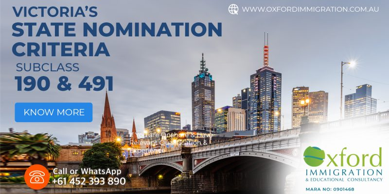 Victoria's State nomination criteria of 2021-22 for subclass 190 & 491